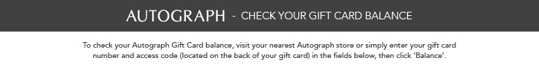 Autograph Gift Card Balance Enquiry