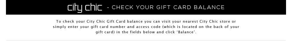 City Chic Gift Card Balance Enquiry